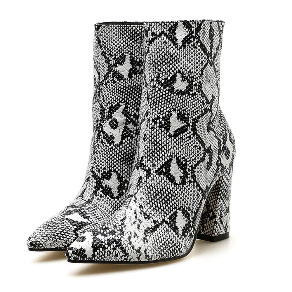 quality design 09f60 deb1a Frauen Snake Boots Winterschuhe Damen Toe Zip dicke spitze hohe Schuhe  Stiefel Chaussures Femme # 442