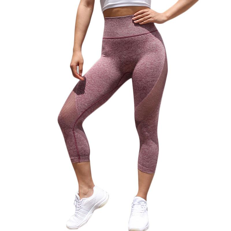 a6c8d3cf5464fa 2018 Women Cropped Leggings Stretchy Sheer Mesh Hollow Out Fitness Workout  Legging High Waistband Seamless Skinny Sporting Pants 2019 From Jamie07, ...