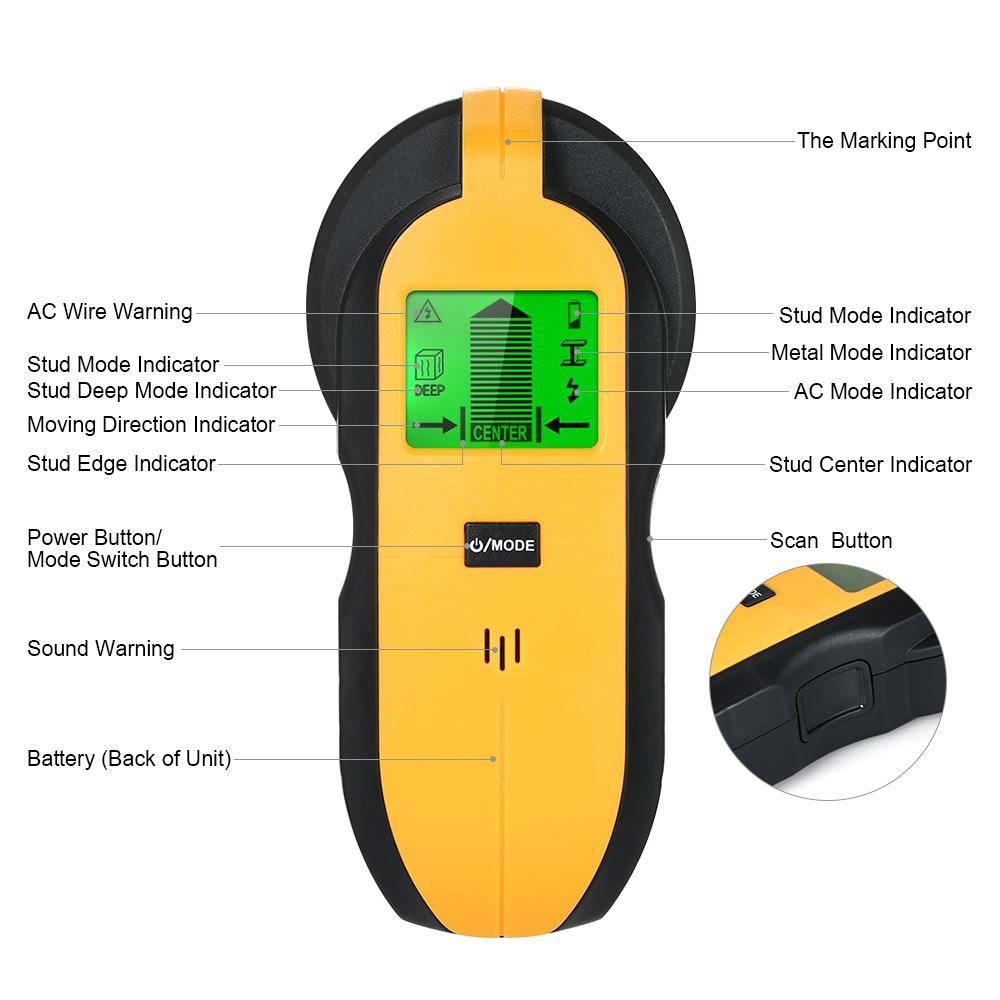 4 in 1 Stud Finder Wanddetektor LCD Digital Holz Metalldetektor Suche nach Metallbolzen Suche AC Live Wire Scanner Warnung