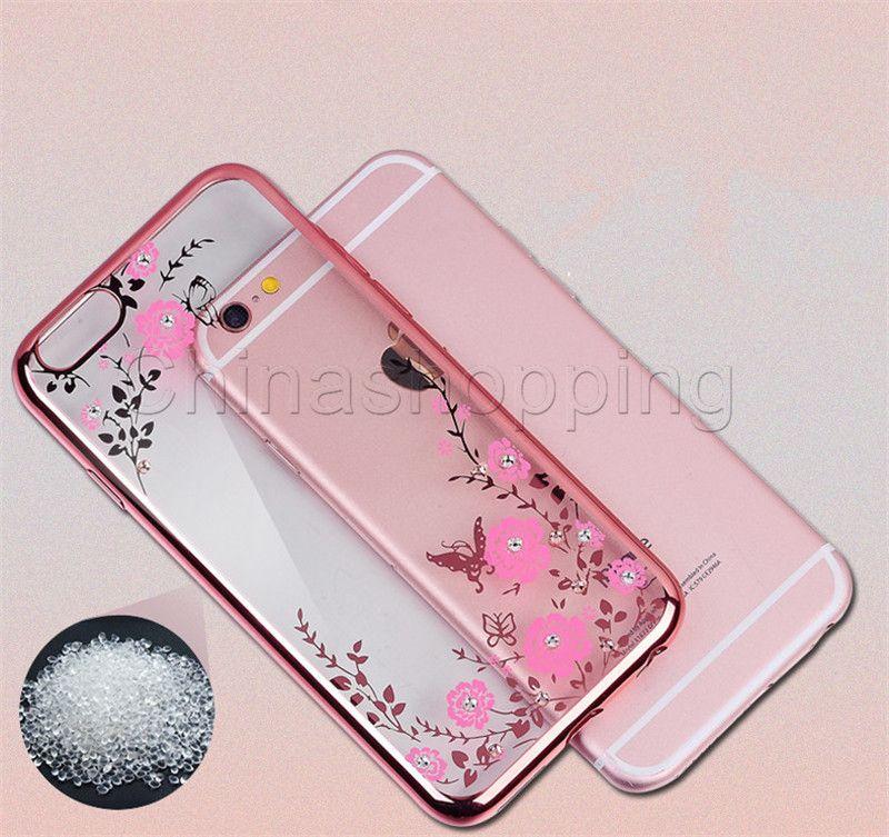 Bling Diamond Electroplate Frame Мягкий чехол ТПУ для iPhone X 8 7 6 Plus Samsung S7 край S8 S9 Plus Секретный Сад Цветок Прозрачная крышка