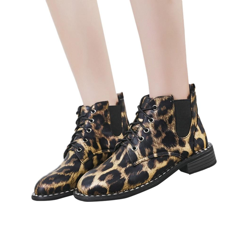 7cb977c5122 Winter Boots Women Leopard Print Bow Lace Ankle Boots Flat Casual ...