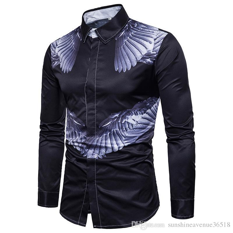 071dddafb76 2019 Men S Shirt New Men S Angel Wings Long Sleeve Large Size Shirt Lapel Single  Breasted Print Fashion Casual Clothing From Sunshineavenue36518