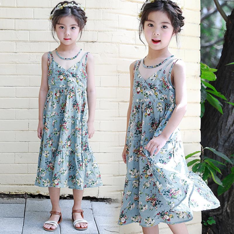 e6ed7bf5820 2019 Bohemian Printed Cotton Girls Sleeveless Dresses Summer 2018 Mid Calf  Princess Dress Baby Big Girl Long Sundress Kids Clothing From Kristine1226