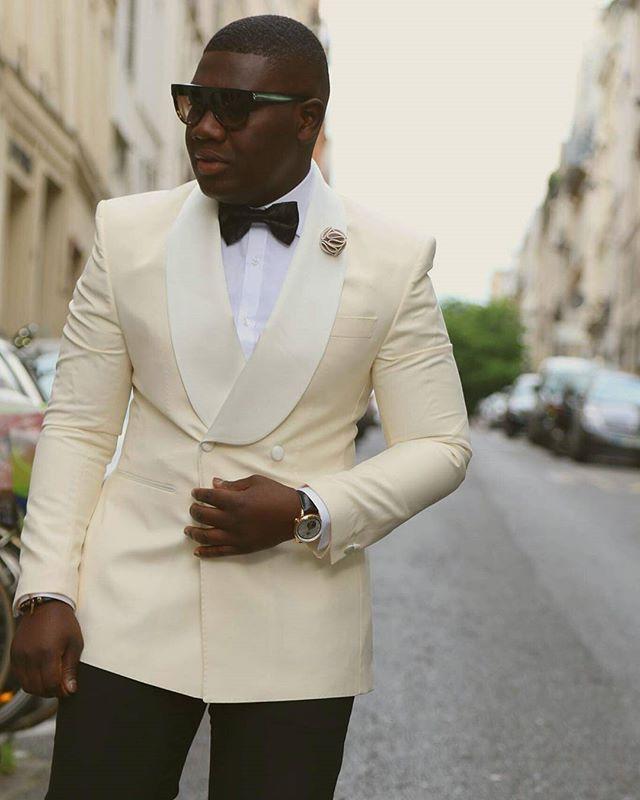 costume homme 2018 custom made tailored ivory double breasted men suit groom formal tuxedo slim. Black Bedroom Furniture Sets. Home Design Ideas