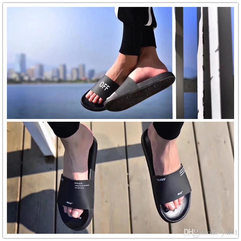 1d24a012b NEW 2018 Black White X Corporate Slider Slippers Designer Shoes For Women  Men Outdoor Slides Cheap Fashion Sandals Casual Slipper Size 36 44 Grey  Boots ...