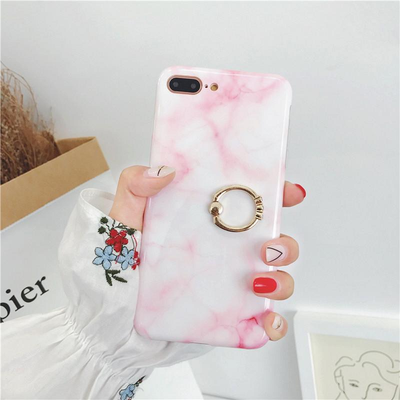 Thick TPU Cover Soft Casing Phone Protective Shell Marble Stone Case with Diamond Ring Holder for iPhone X 6 6S 7 8 Plus