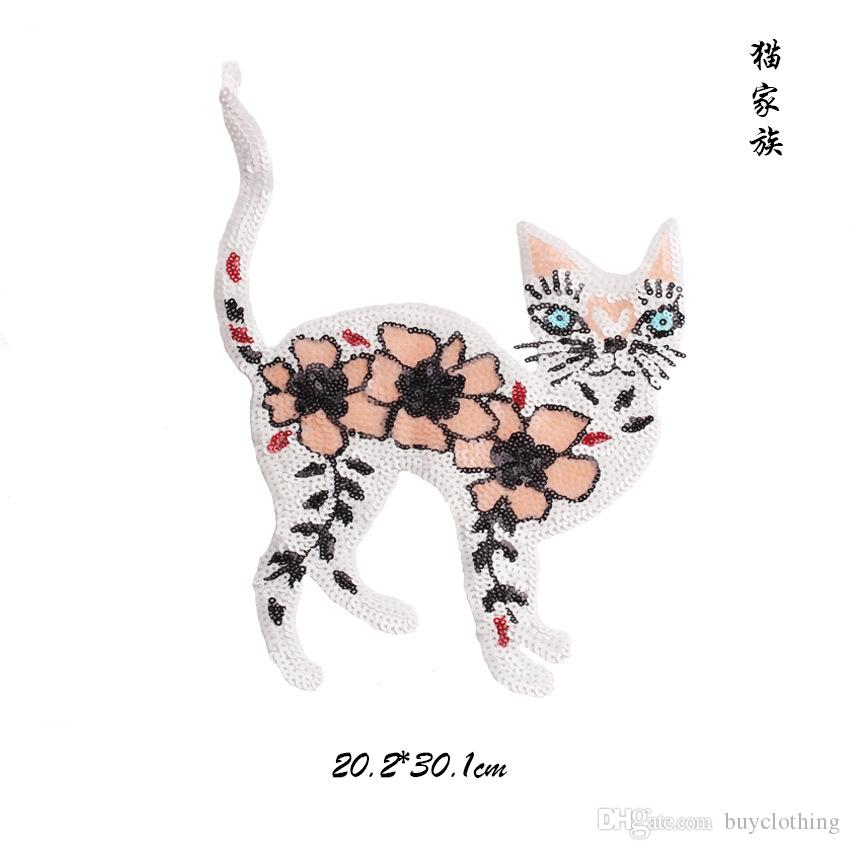 3D Embroidery Patch for Kids Cloth Lovely Sequin Cat Patches DIY Decoration Applique Badges Stickers