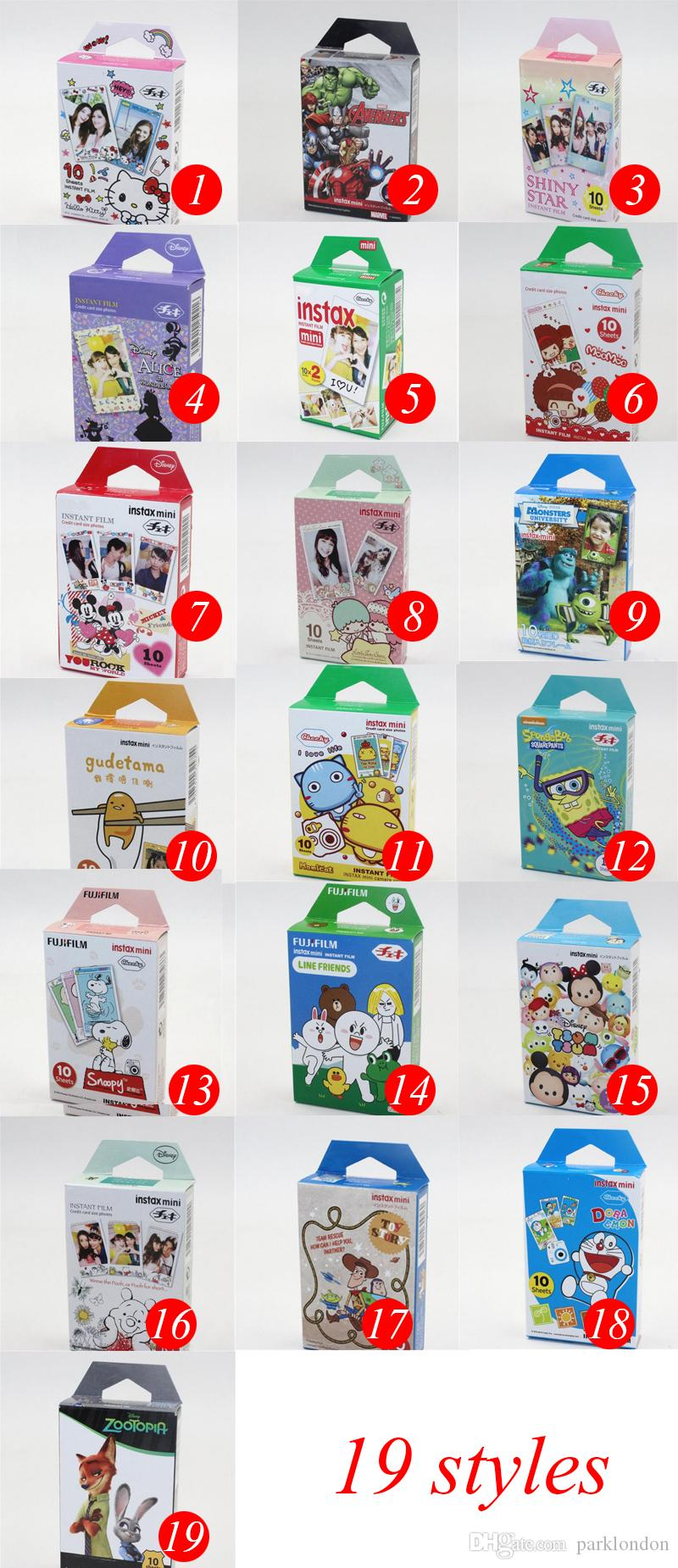 19 stile Instax Mini 8 film il marchio Instax Mini 7s 8 9 70 Instant Photo Camera Condividi SP-1 SP-2 White Film