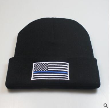 e9e5e2864 Thin blue/ red line beanie men women winter hat skull USA flag fire fighter  beanies Support Police Law Enforcement