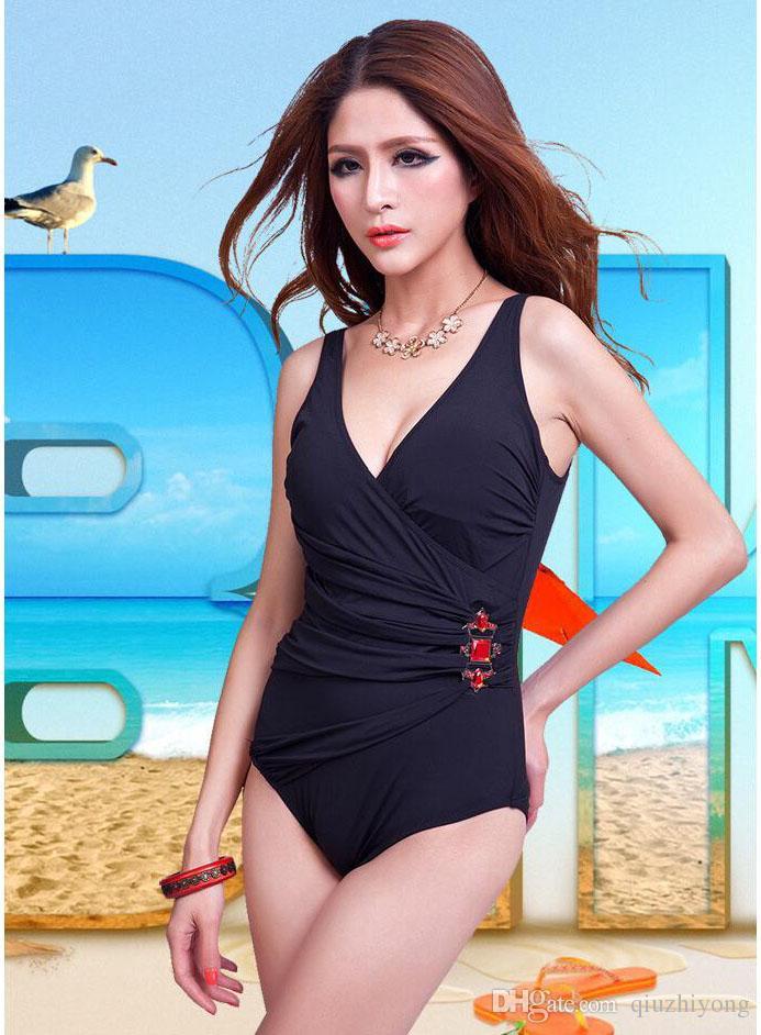 Größe 40 vollständige Palette von Spezifikationen herausragende Eigenschaften Schwarz Einteiler Badeanzug Dame Heiße Quelle Bademode Sexy Frauen Sommer  Weiche Tasse Gepolsterte Beachwear