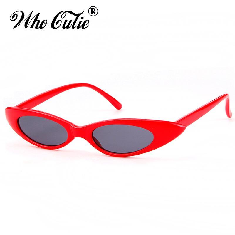 2746a81126d44 WHO CUTIE 2018 New Small Cat Eye 90s Sunglasses Women Vintage Peak Cateye  Frame Skinny Narrow Retro Sun Glasses Slim Shades 592 Reading Glasses  Prescription ...