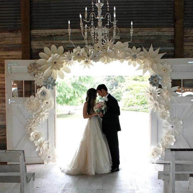 36pcs 20 50cm Giant Paper Flowers Handmade Artificial Flower For Wedding Backdrops Arch Decorations Deco Customized Fake Flowers