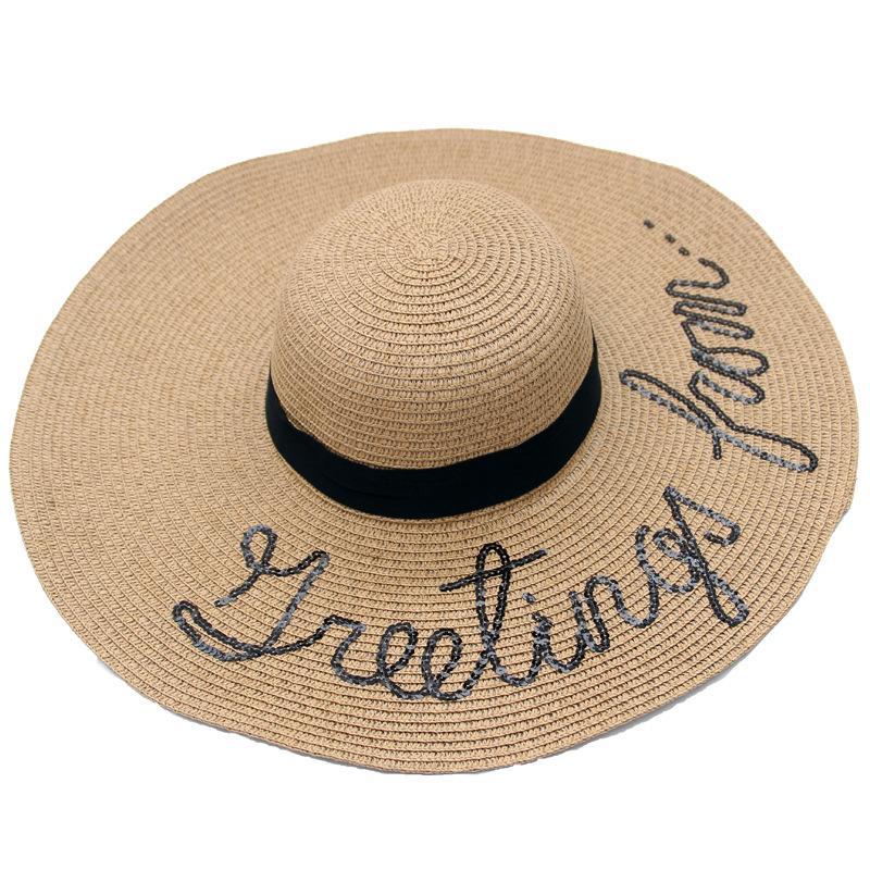 01a54f65f8c11 Compre Gorra Bordada Con Letras Sombrero De Paja De Verano Para Mujer  Sombreros De Sombreado Sombreros Para El Sol Sombrero De Playa A  33.14 Del  Value222 ...