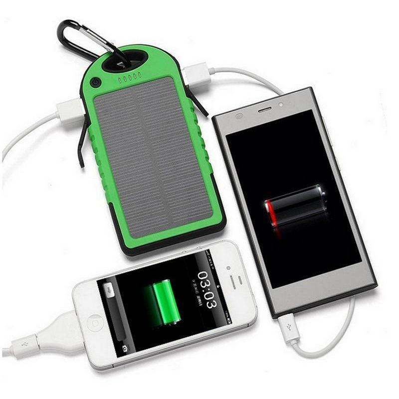 USB Solar Power Bank Portable Charger Outdoor Travel Battery LED Light 5000mAh for iPhone Android Laptop Camera