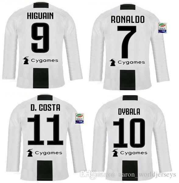 d30603218 Italia Cristiano Ronaldo Full Long Sleeve Soccer Jerseys 2019 Maglie Calcio  Juv Serie A Patches Voetbal Cr7 Champion League Italy Shirts Canada 2019  From ...