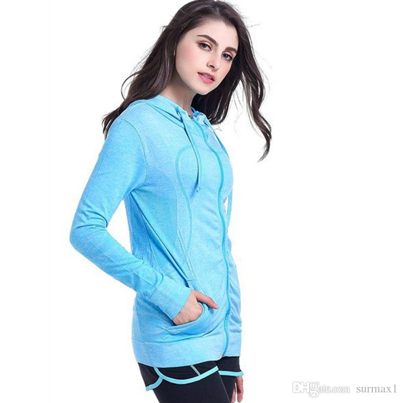 Yoga clothing ladies size S-L four-color hooded quick-drying jackets Slim clothing long sleeves zipper running sportswear