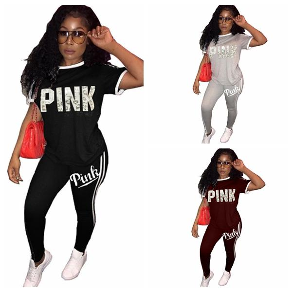 f78ade3ecffd2 Pink Women Suit Leggings T-Shirts Running Pullover Trousers Set ...
