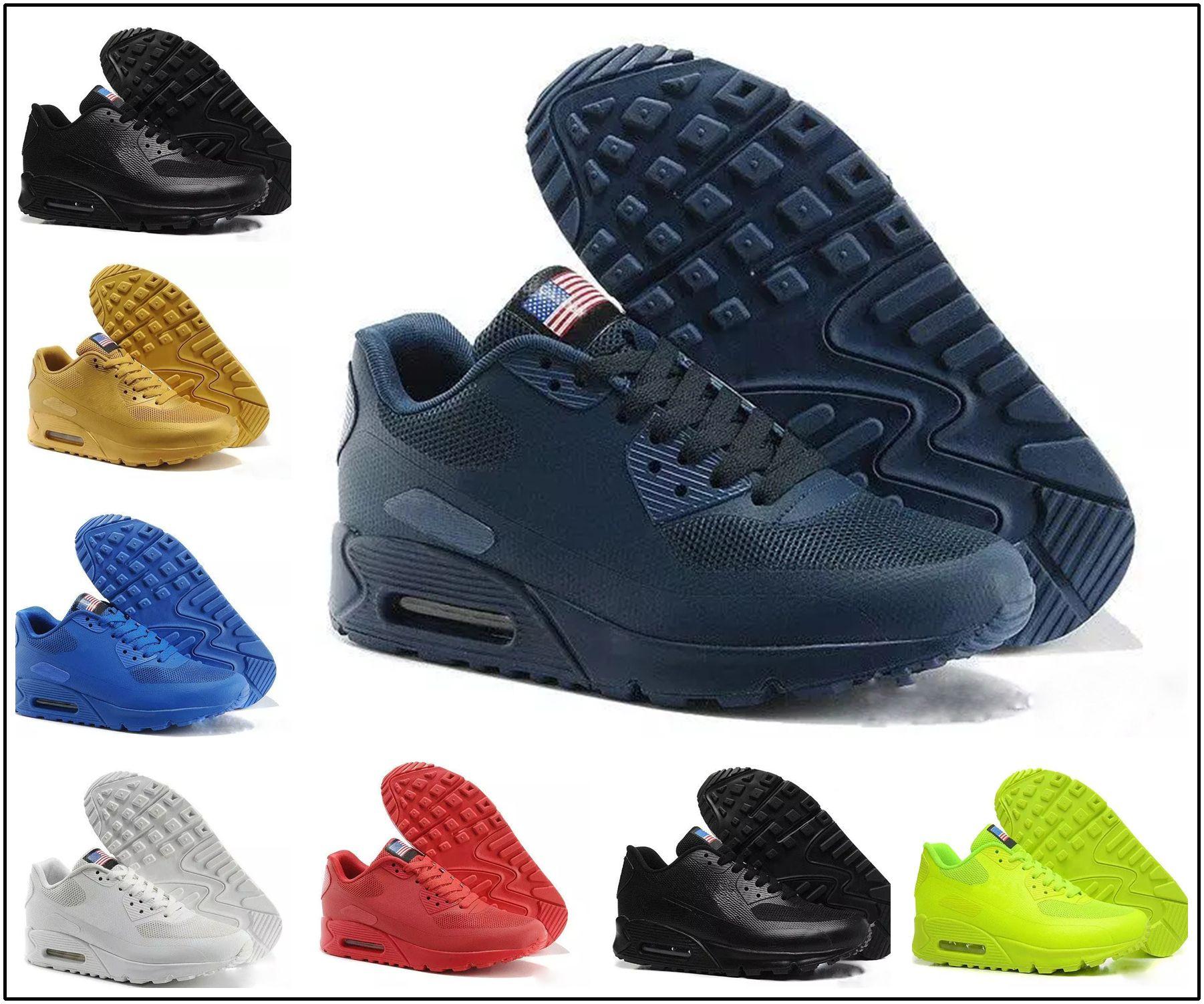 67b9ab2f05c Compre Nike Air Max 90 HYP PRM QS Chaussures Hommes 90 HYP PRM QS Sapatos  Casuais Venda Online Moda Dia Da Independência Zapatillas EUA Bandeira  Esporte ...