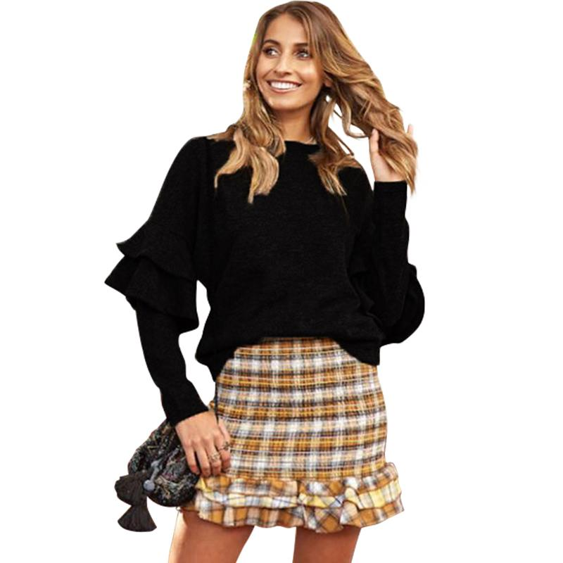 225ba3ab6f46 2018 Autumn Winter Sexy Women Knitted Sweater O-Neck Batwing Long Sleeve  Ruffles Loose Knitwear Pullover Solid Color Jumper Tops Online with   35.18 Piece on ...