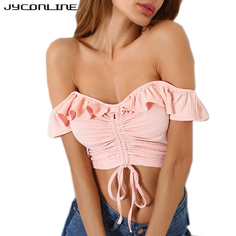 1536835496 wholesale Off Shoulder Sexy Cropped Top Women Ruffles Knitted Tanks Pleated  Lace Up Crop Top Female Streetwear Push Up Tops Tees