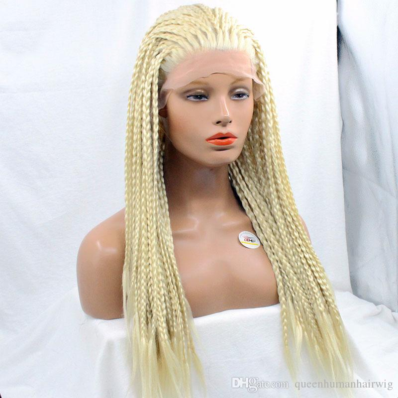 Braided Lace Front Wigs #613 Blonde Wig Japanese Heat Resistant Synthetic Micro Braiding Wigs For White Women