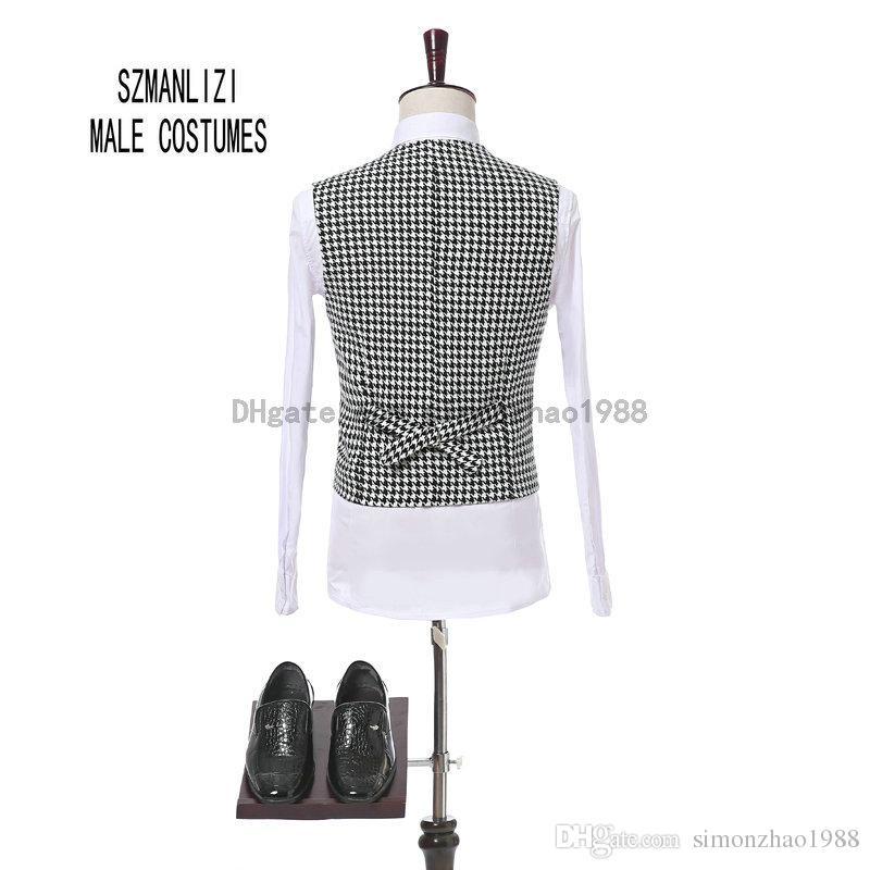 Nouvelle Arrivée 2018 Italien Conception 3 Pièces Slim Fit Plaid Costume Formel Costume Marié Smokings Garçons D'honneur Hommes De Mariage Dîner Costume de Mariée