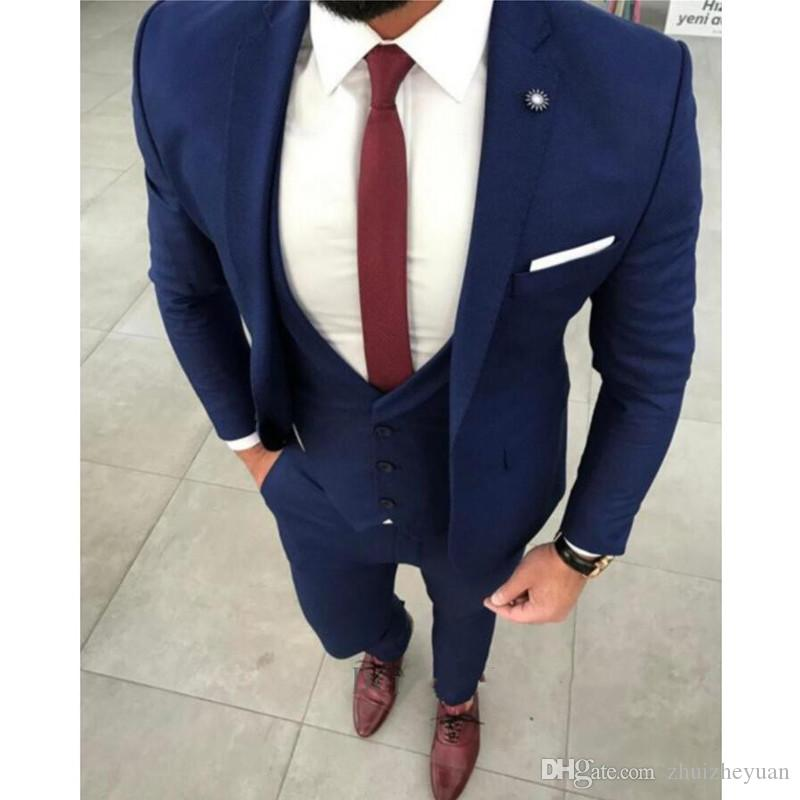 Latest Designs Navy Blue Men Suit Slim Fit Custom Tuxedos Custom Made Men  Wedding Suits Groom Tuxedo Jacket+Vest+Pants Tuxedos And Suits Tuxedos Prom  From ... a81885e2eab4d