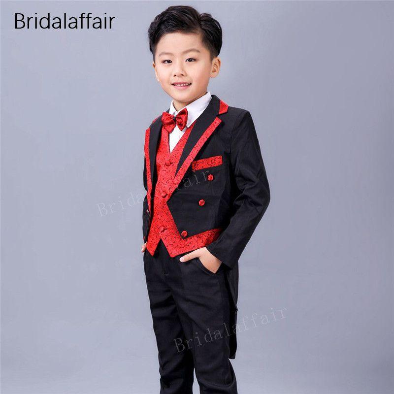Compre Maravilloso Negro Rojo Niños Trajes Para Boda Inglaterra Estilo  Niños Prom Tuxedos Niños 3 Unids Traje Conjunto Tailcoat Chaqueta +  Pantalones + ... 6fc7522f77e