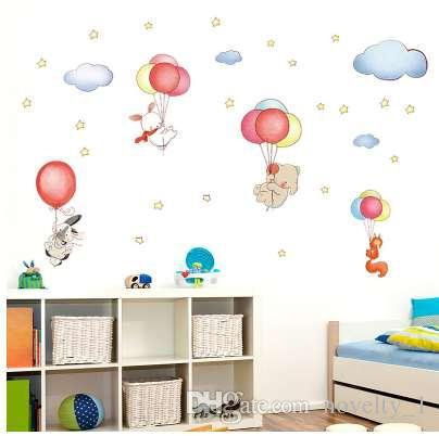 Cartoon Animal Balloon Cloud Wall Sticker Children s Baby Bedroom Kids  Rooms Home Decor Wall Decal adesivos de parede