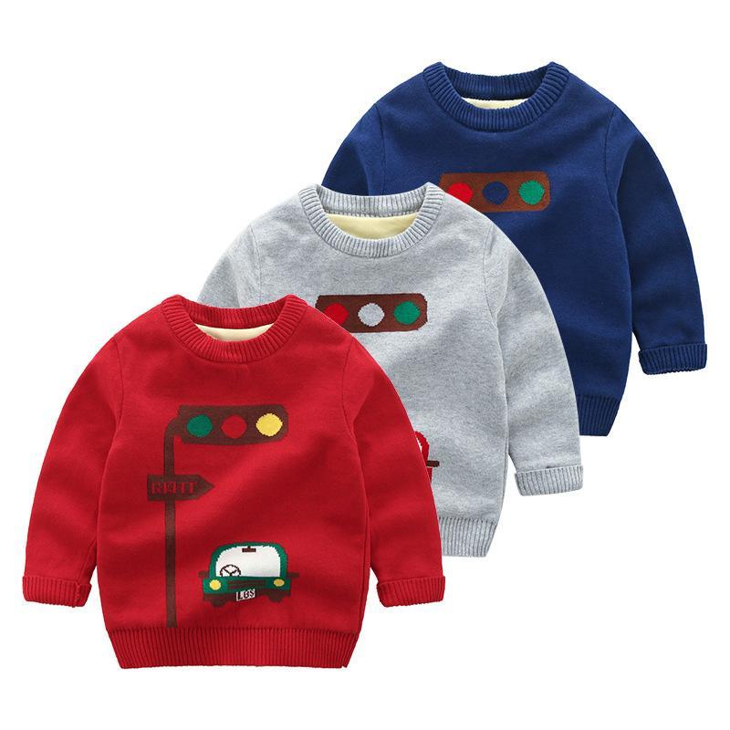 dfda98685f66 Christmas Sweaters Boys Sweaters Knitted Baby Cartoon Traffic Light ...