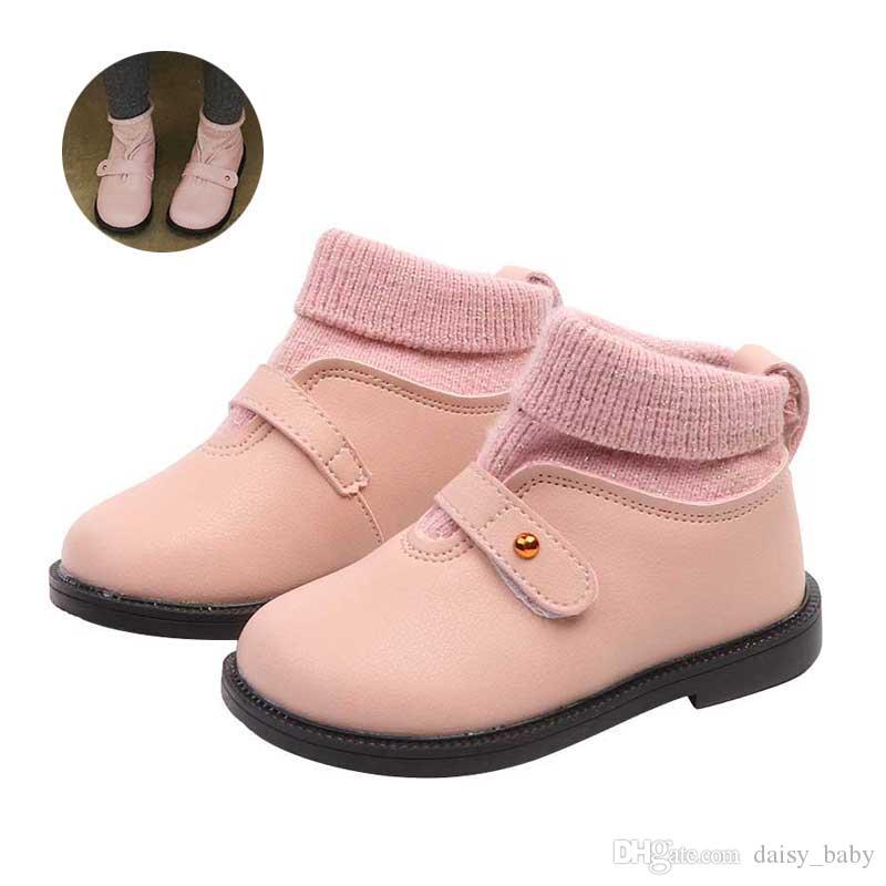 19dd82b1a7459 Acheter Automne Hiver Laine Fil Top Ligne Bottes Enfants De Mode Patchwork  En Cuir De Cheville Botte Chaussures Enfants Chaussures Filles Martin  Bottes 2018 ...