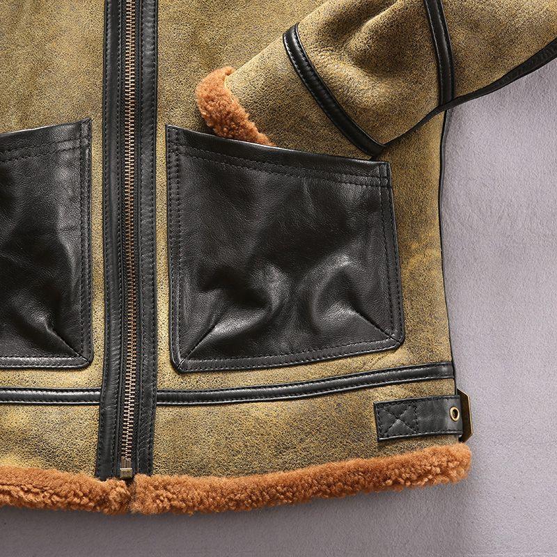 forro de pele de couro revestimentos homens cordeiro castanho AVIREXFLY pele de carneiro dentro revestimento B3 SUPERIOR couro com bolso