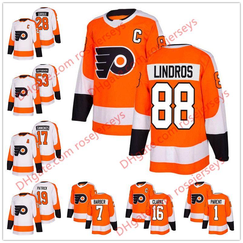 Philadelphia Flyers  88 Eric Lindros 16 Bobby Clarke 1 Bernie Parent 7 Bill  Barber 2018 Orange Home White Retired Player Hockey Jersey S-60 1 Bernie  Parent ... 27984628a