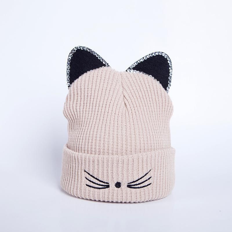 eb462e32e25 Knitted Acrylic Warm Winter Beanie Caps Hot Sale Cat Ears Hat Women Hat  Crochet Rhinestone 2018 New Skullies   Beanies Cheap Skullies   Beanies  Knitted ...