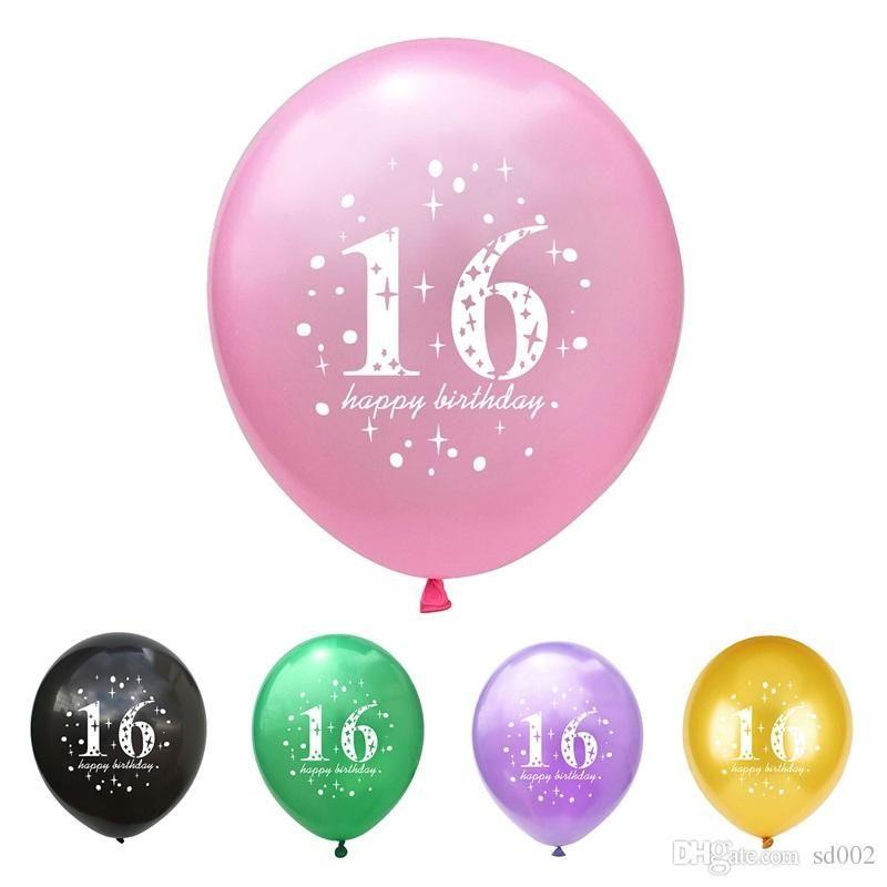 16 Joyeux Anniversaire Ballon Perle Lumière Latex épaississement Ronde Ballons à Air Party événement Avec Numéro Contexte Mise En Forme Décor 0