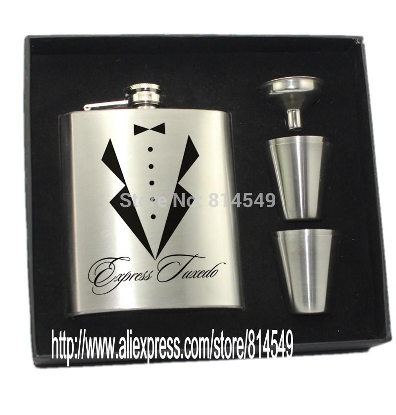 2018 Personalized Wedding Gift For Groomsman Of Hip Flask With 4
