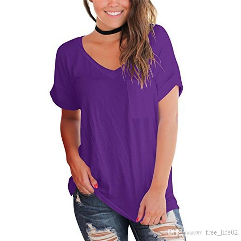 Venta al por mayor es S-2XL 2018 primavera y verano nuevo bolsillo del pecho de las mujeres con cuello en V de manga corta camiseta suelta blusas de las mujeres