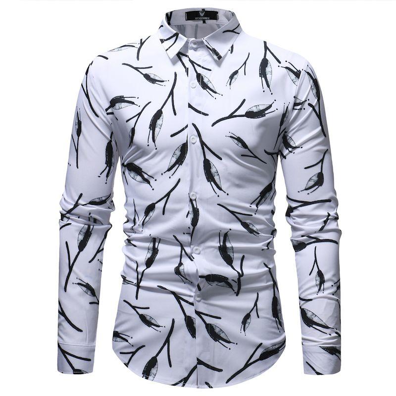 Compre Moda Preto Branco Floral Camisa Homens 2018 Primavera Outono Novo  Slim Fit Camisa De Manga Longa Mens Casual Camisas De Vestido Chemise Homme  De ... 773d2a74efe14