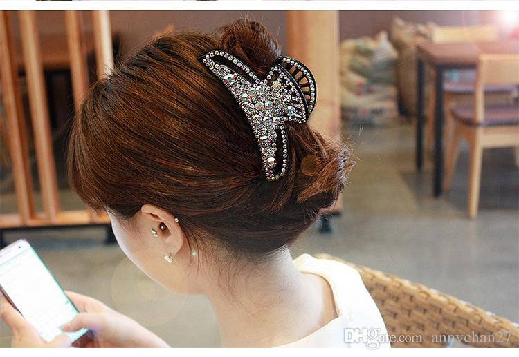 Jóias de cabelo Grandes Grampos de Luxo Completa Swarovski Cristal Rhinestone grande Garra Cabelo Dia Das Mães Dos Namorados Presente Graça Jewerly DHL