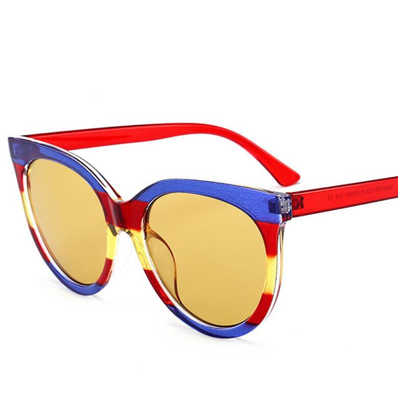 Fashion Trends Eyewear Ladies Cat Eye Tendances Retro Lunettes de Soleil , Cadre Blanc / Noir Brillant