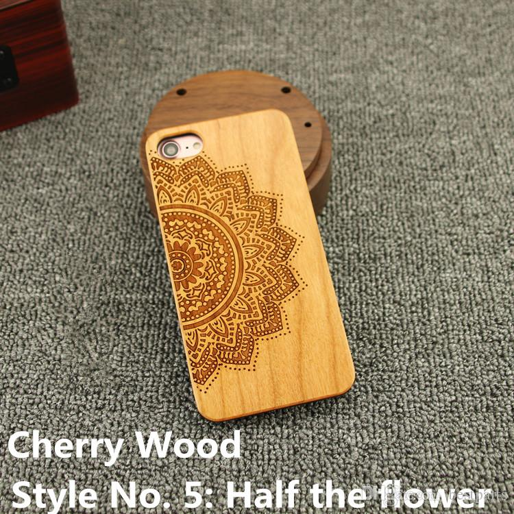 Style No. 5 Half the flower Real Genuine Natural Wood Wooden Bamboo Protective Back Cover Cases for iPhone X 8 7 6S 6 Plus 5 5S SE Inside
