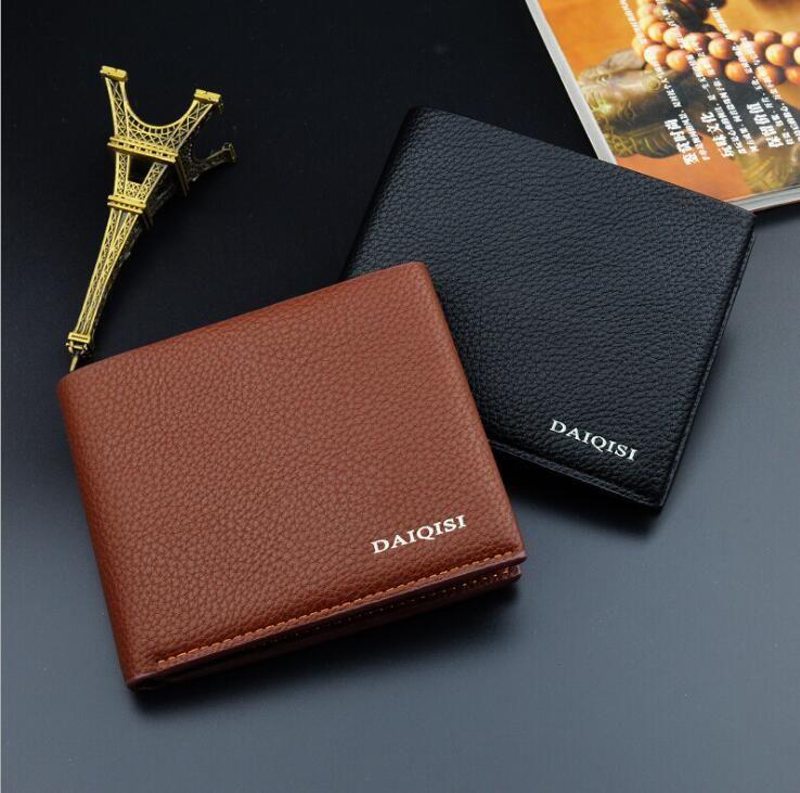 New men's luxury popular the new fashion business MT genuine leather card case bag black short wallet vintage photo holder card holder