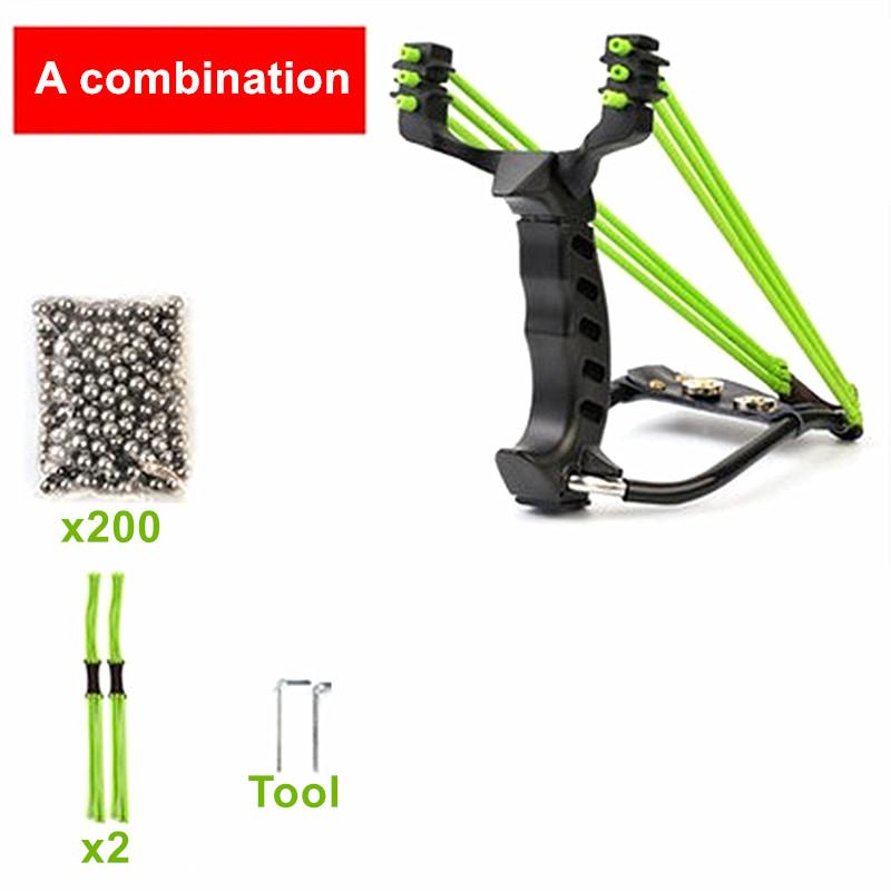 Hot 3 Rubber Bands Professional Alloy Outdoor Adult Hunting Slingshot With 200pcs Steel Balls And Accessories With Flashlight