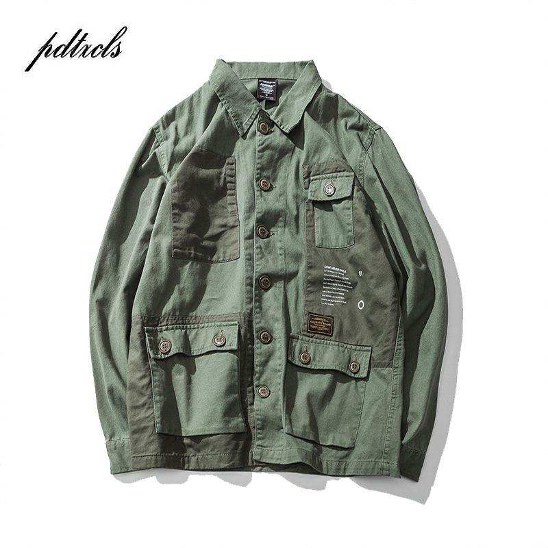 b9563f2a3d72e New Arrival Original Western Styel Street Fashionable Brand Turn-Down Collar  Multi-Pocket Print Men's Safari Style Jackets Coats