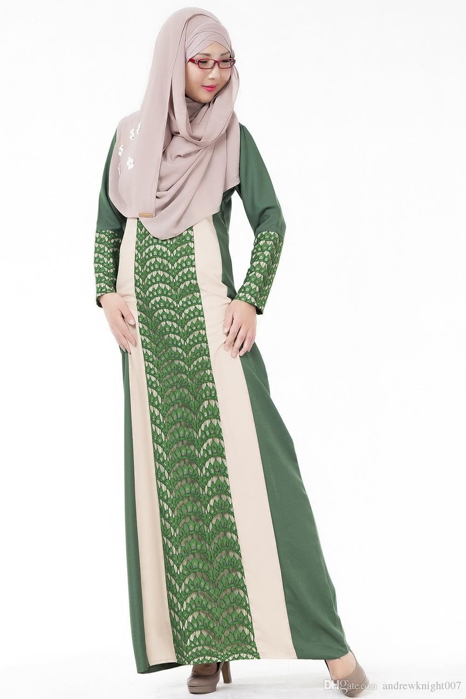 Mulheres Xadrez PlainLong Manga Muçulmana Islâmica Abayas Lace A Linha Maxi Vestido 4 Cores DK723MZ Frete Grátis Dropshipping