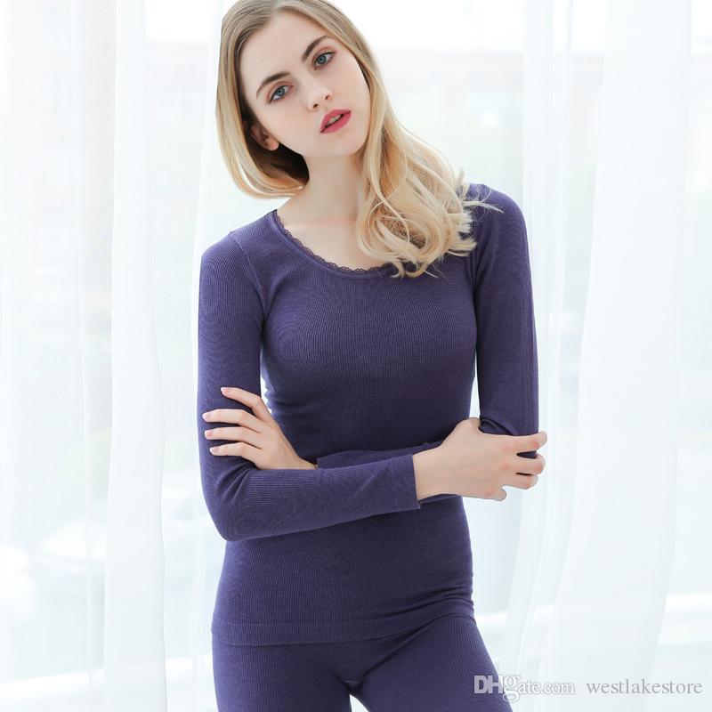948e7e9558ec New Autumn Winter Thermal Underwear For Women Warm Suit Elegant Lace ...