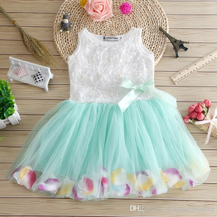 1f6166458c17 2019 Girls Clothes Baby Girl Sleeveless Dresses New Summer Bow ...