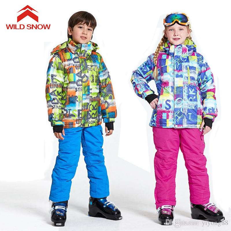 2019 2018 WILD SNOW Boys Girls Ski Suit Waterproof Windproof Snow Pants+ Jacket A Set Of Winter Sports Child Thickened Clothes 3feab8342