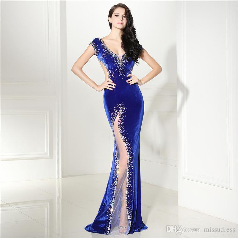 3f20b6381d3 Acheter Robes De Soirée Bleu Royal Long Sexy Scintillant Perles ...