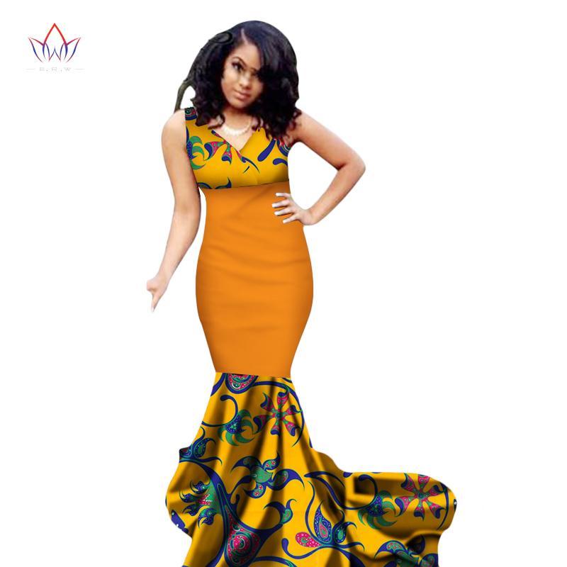 Acheter 2018 Été Afrique Robes Pour Femmes Sirène Robes Longues Formelle  Ankara Mode Robe Coton Africain Imprimer Wax Robe WY1989 De  54.04 Du  Bintarealwax ... d73f4efe692a